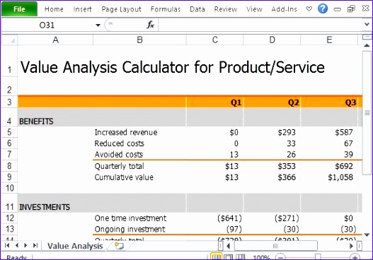 free value analysis calculator products services