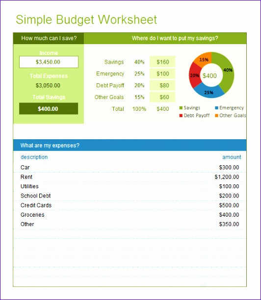 free excel bud templates