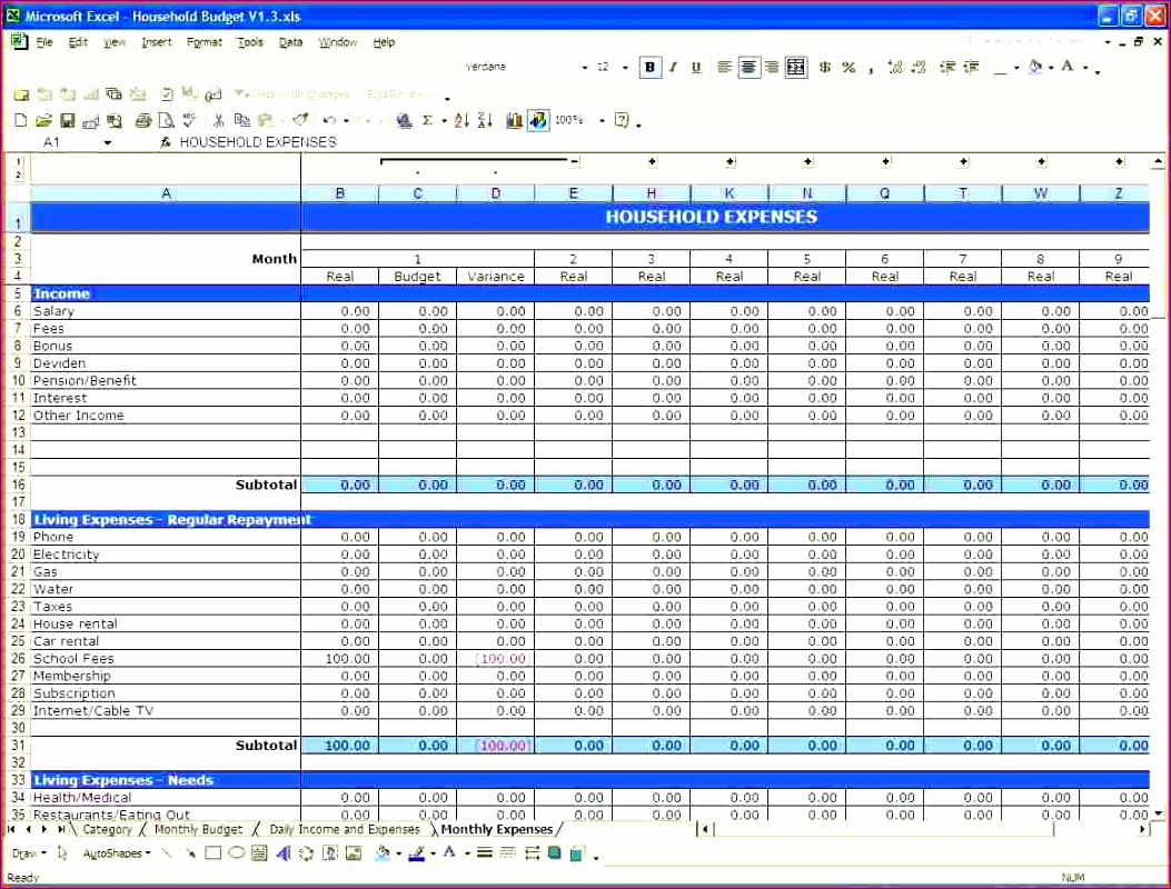 free bud template excel household 1053800