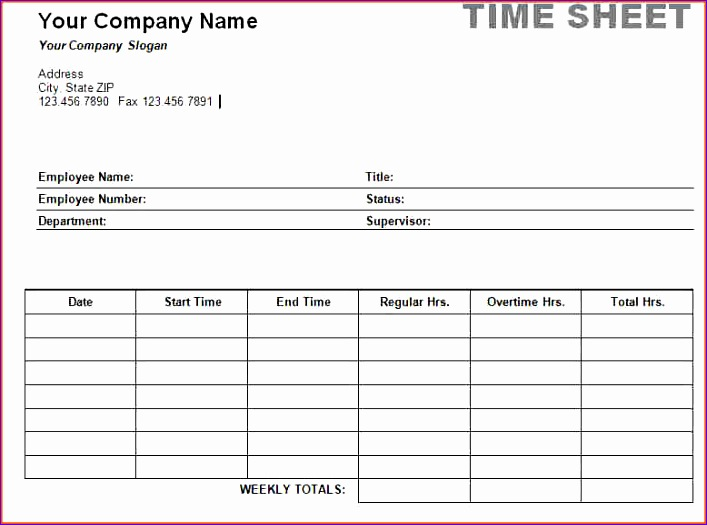 5 weekly timesheet template 707525