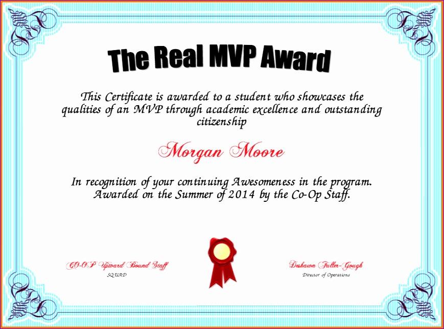 mvp certificate 869644