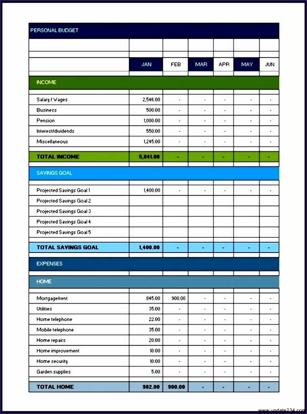 excel personal bud template 610820