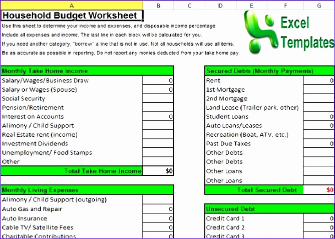 household bud template excel 2007 669477