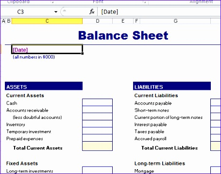 balance sheet format templates in excel 455360