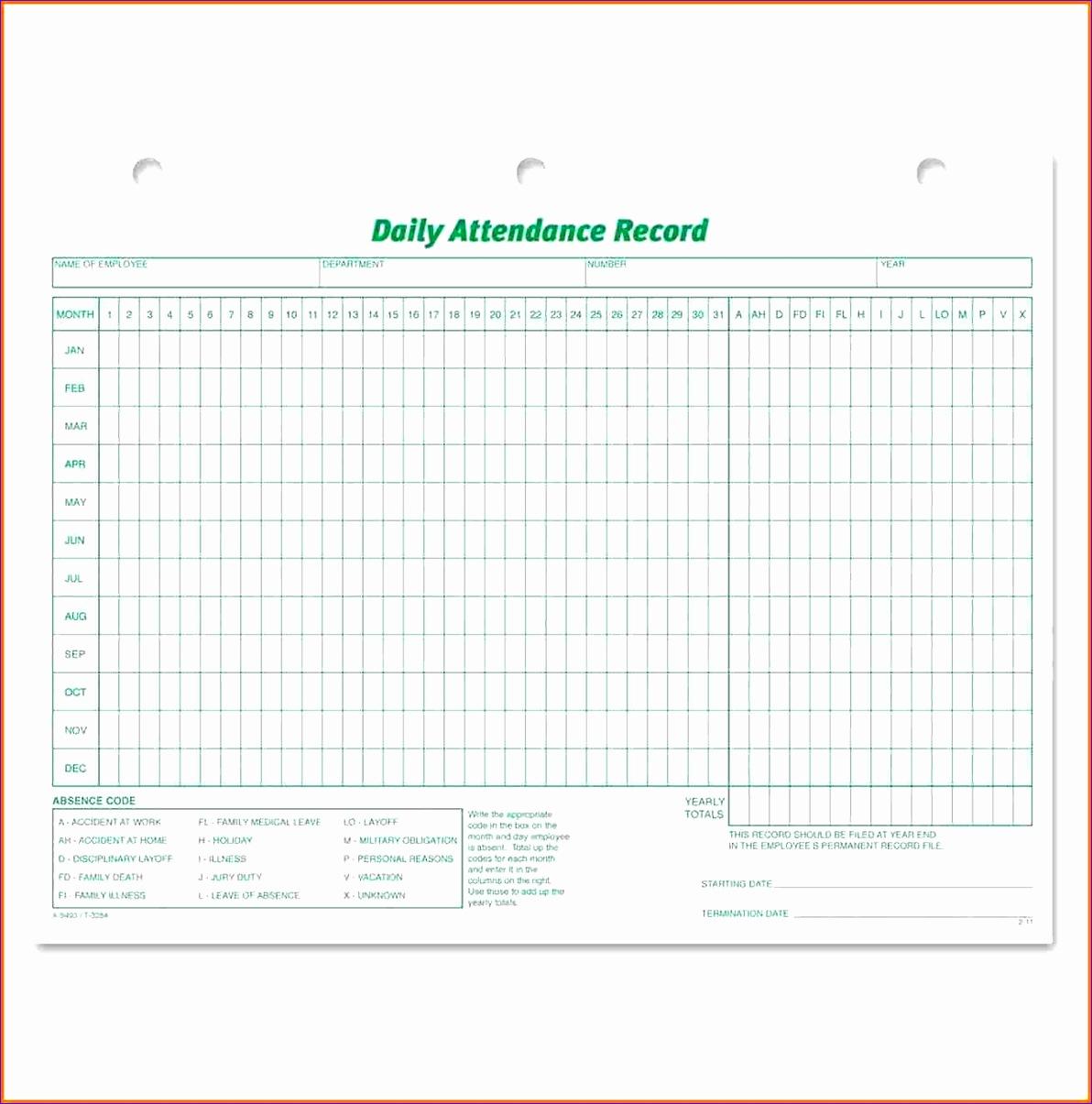 attendance record template 11921205