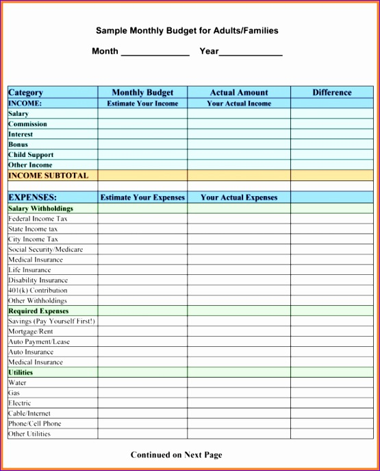 9 sample household bud spreadsheet 2 555687