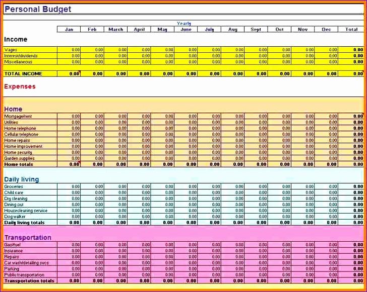 11 family bud spreadsheet 728581