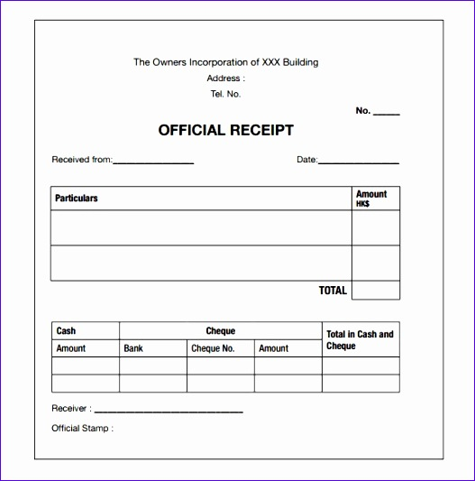 payment receipt template word 527533