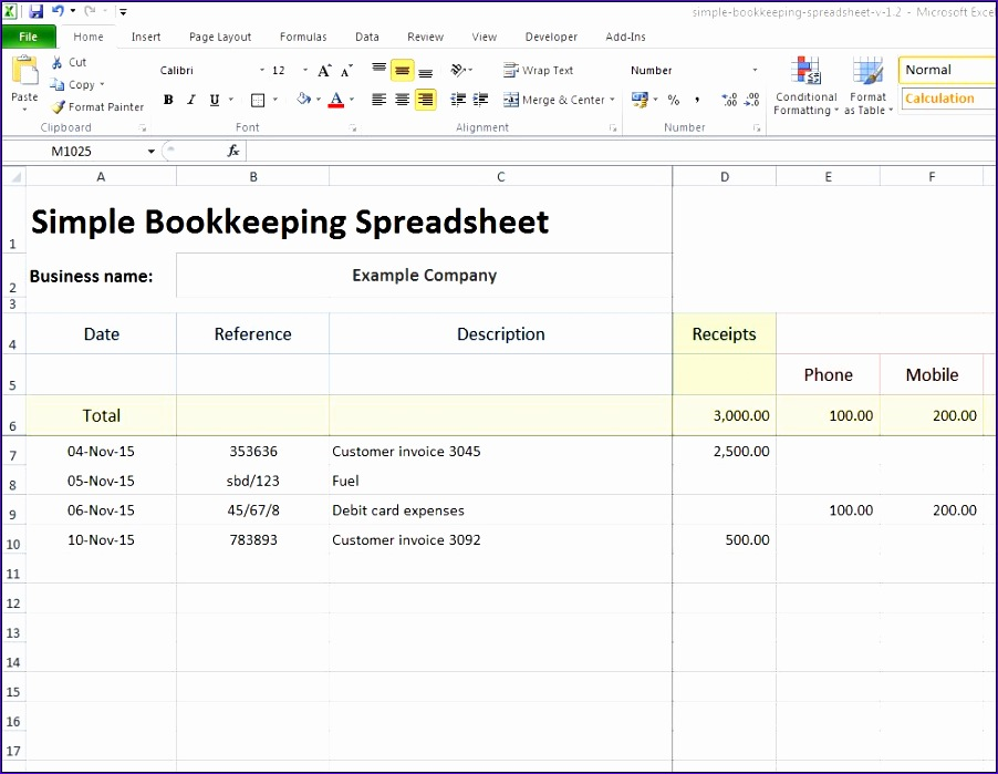 bookkeeping excel spreadsheet 902699