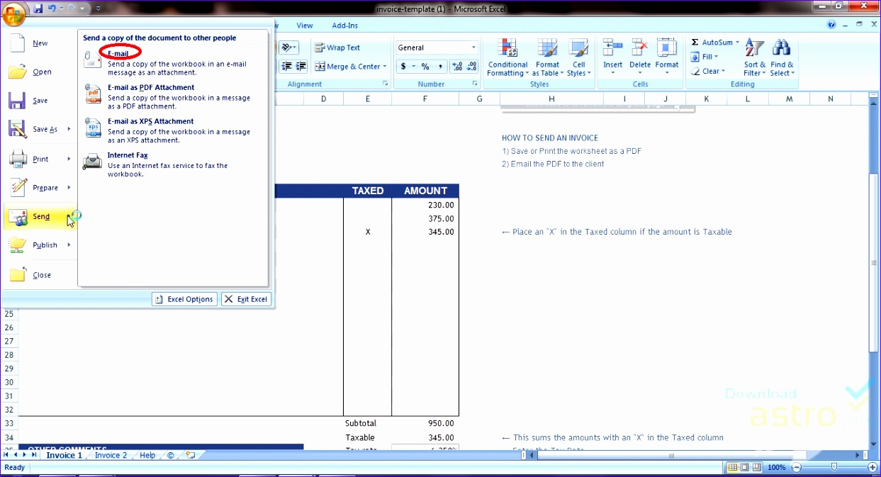 excel invoice templatewnloadastro 1243673
