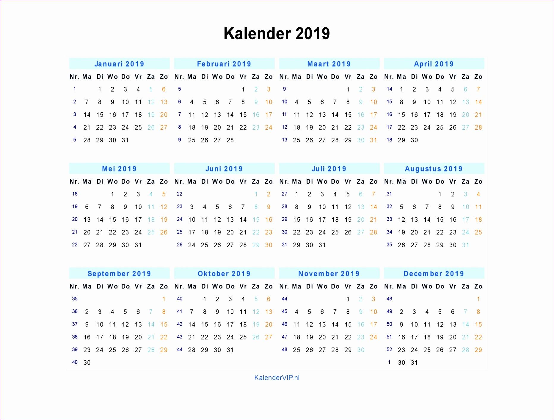kalender 2019 jaarkalender en maandkalender 2019 met weeknummers en 18631413