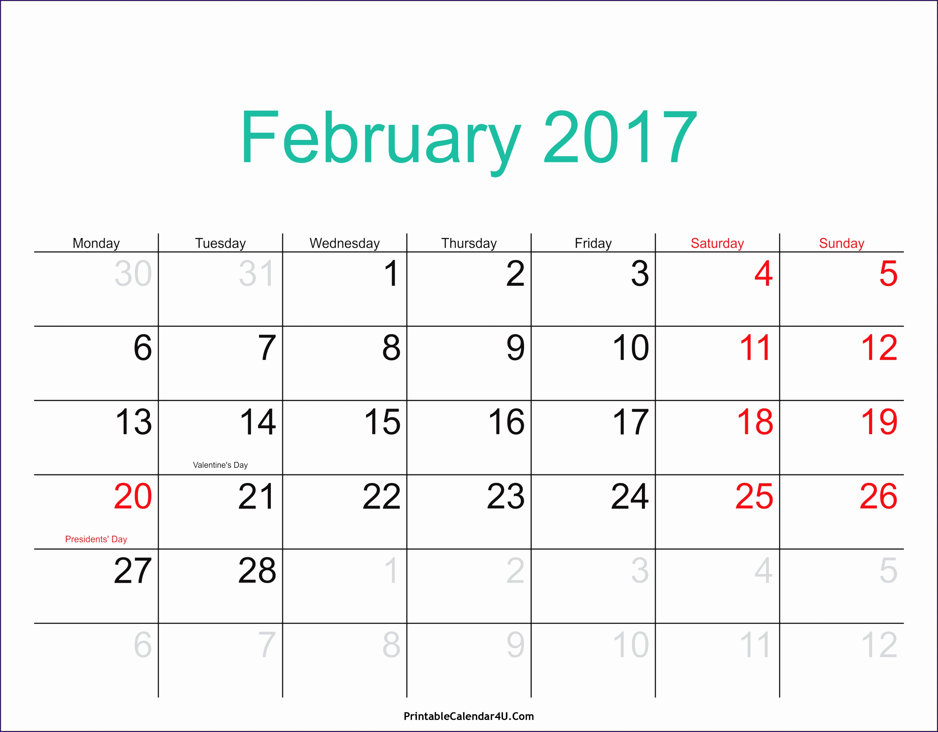 february 2017 calendar with holidays 1428 30062349