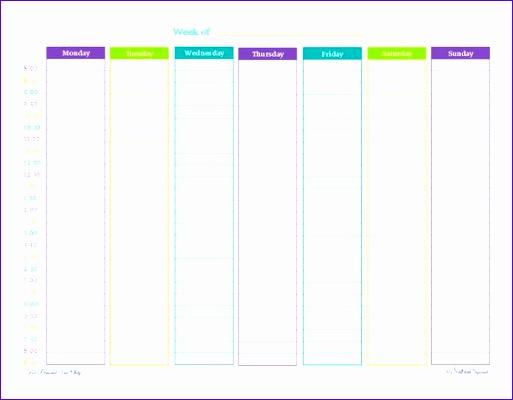 weekly calendar by hour 156 513400