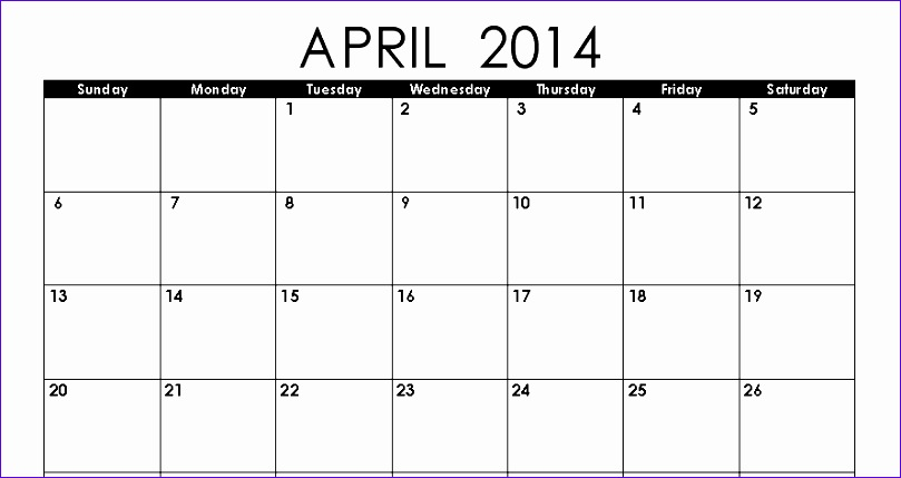 Calendar Excel Templates Eucgf Beautiful April 2014 Calendar Printable Printable Calendar 2014 890467