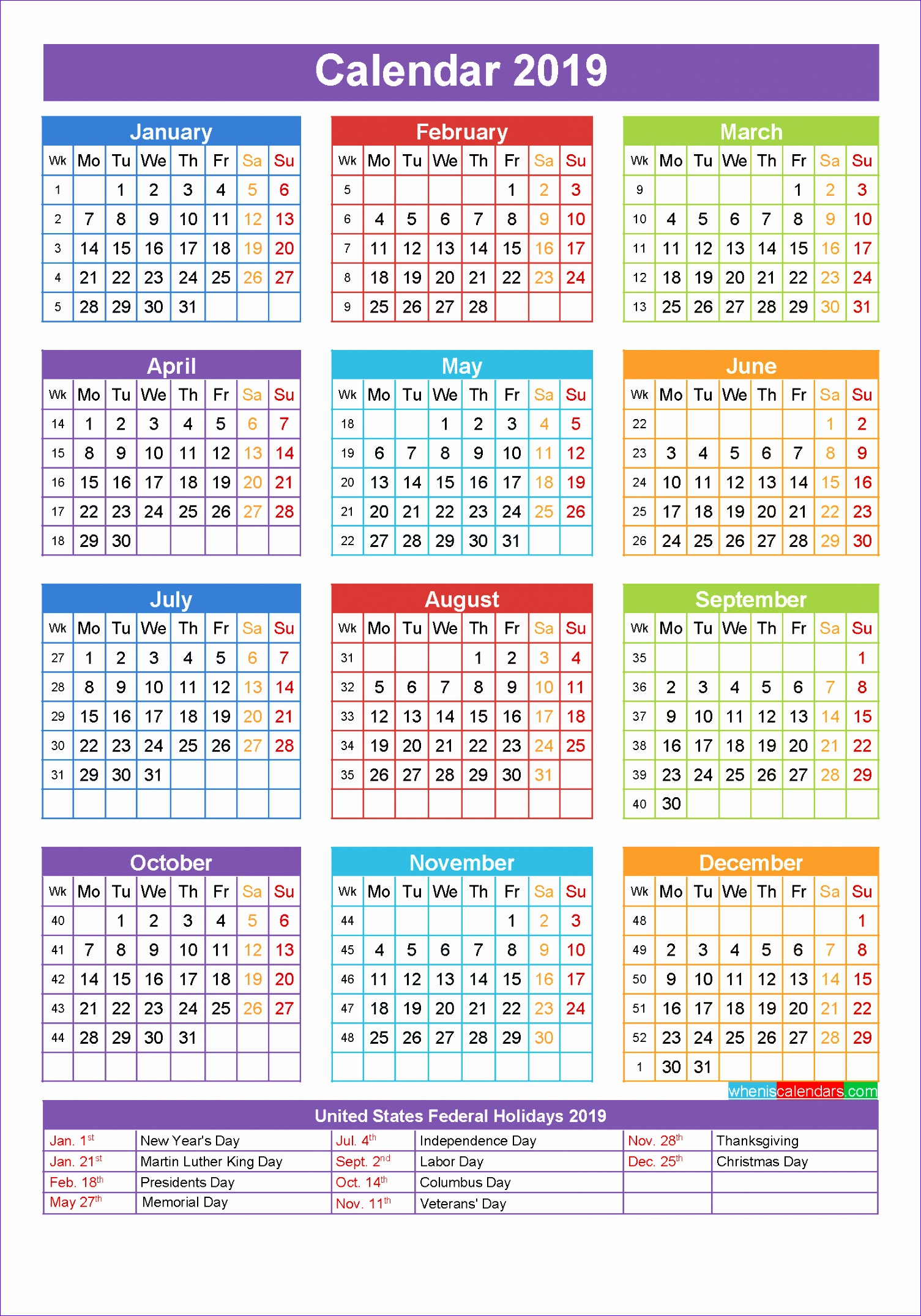 2019 calendar with holidays 1339 15052151