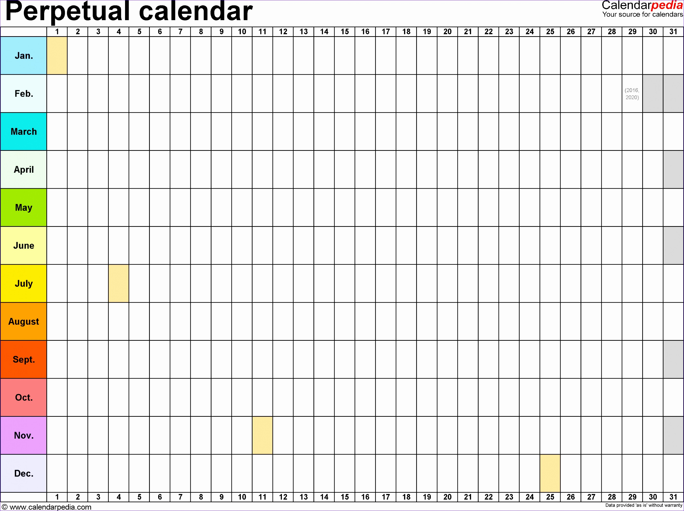 perpetual calendars 7 free printable excel templates pictures 4