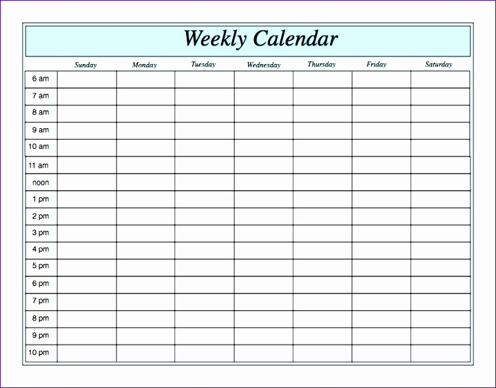 weekly calendar by hour 156 720563