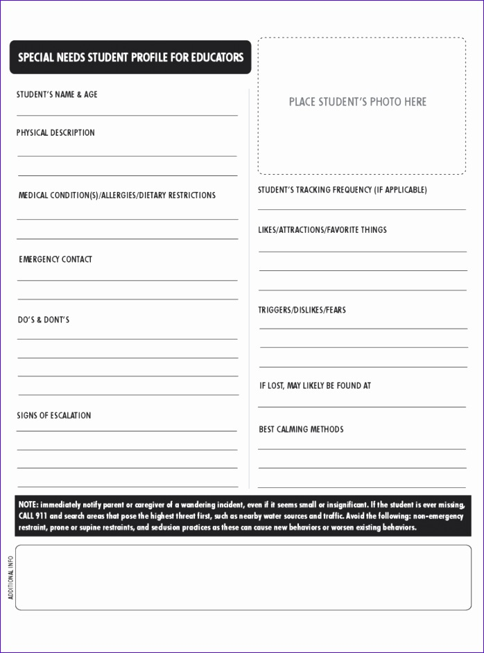 student profile form 698942
