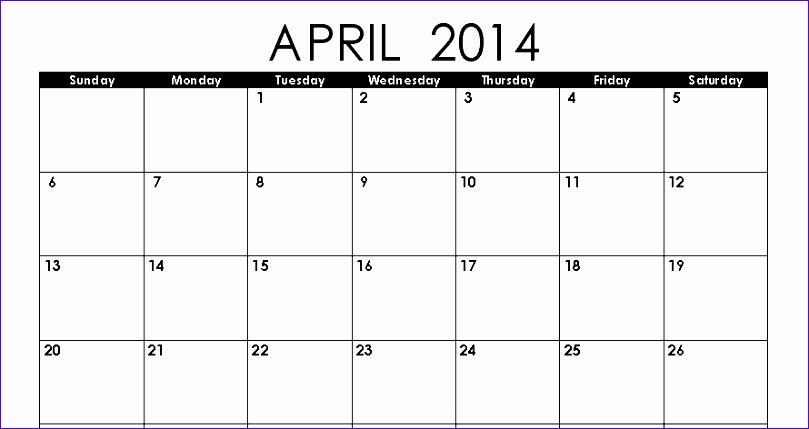 april 2014 calendar printable