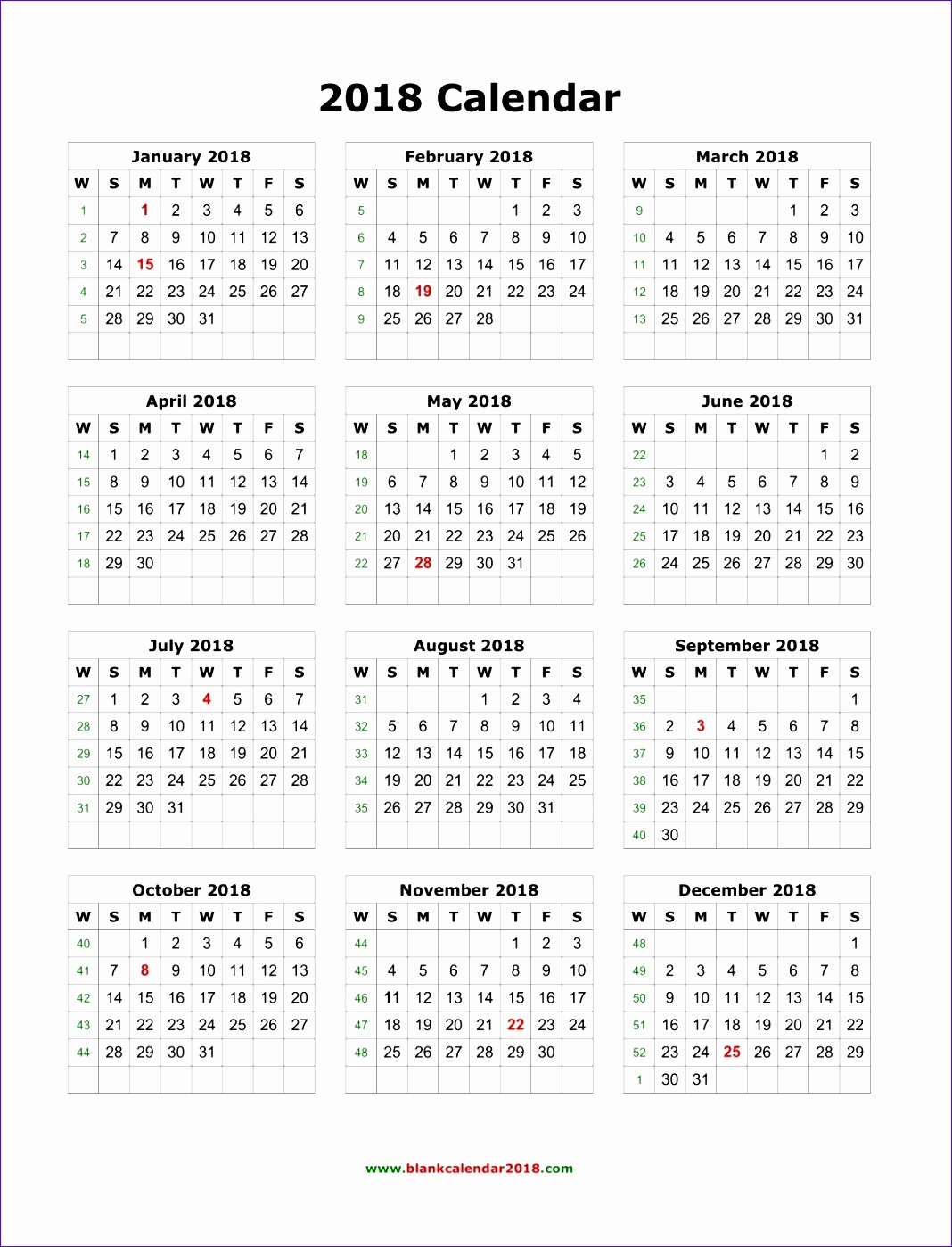 blank calendar 2018 3895