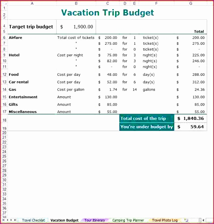 vacation bud planner 711742