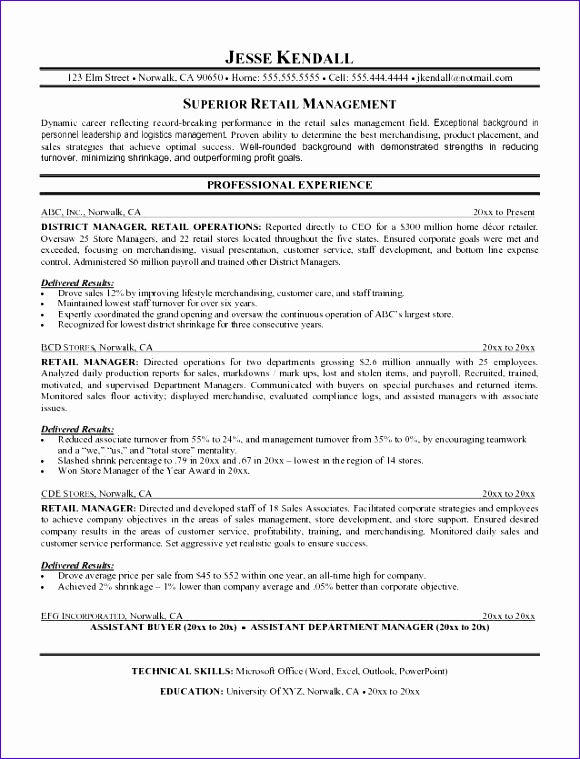 retail manager resume objective 580759