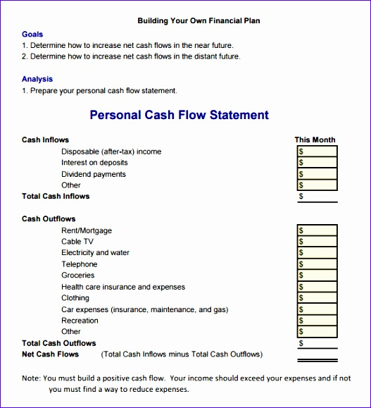 sample cash flow statement 527579