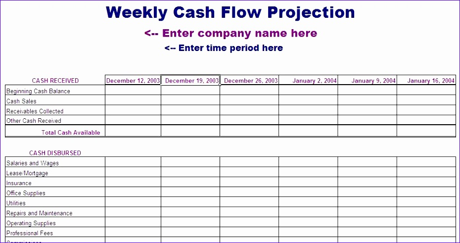 6 cash flow template for excel