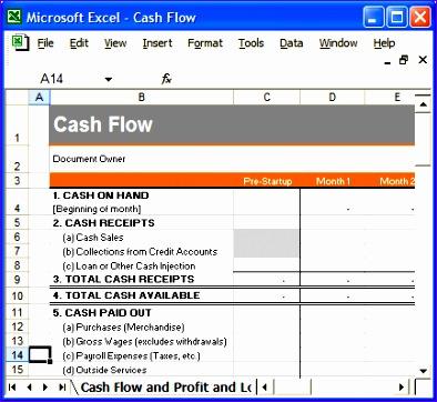 6 cash flow template for excel exceltemplates for Cash flow template for business plan