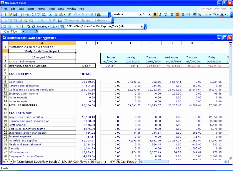 post daily cash flow spreadsheet 931682