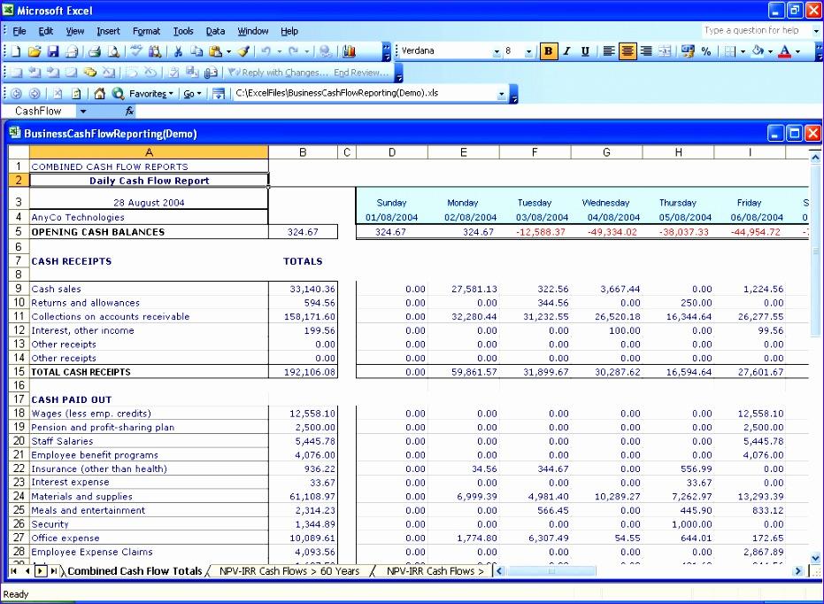 6 cash flow template for excel