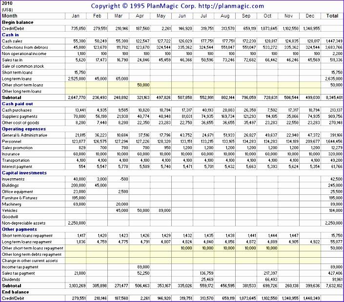8 cashflow excel template exceltemplates exceltemplates for Cash flow template for business plan