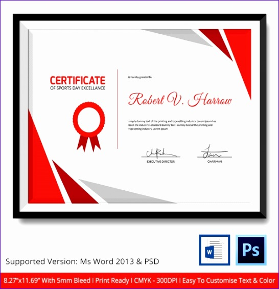 10 certificate of excellence template free for Download certificate template psd
