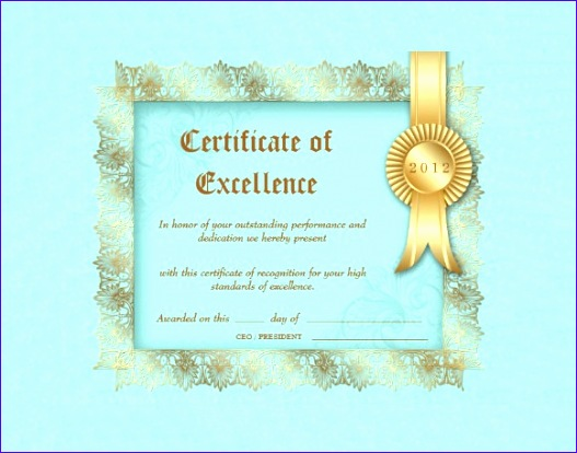 sample certificate of excellence 527414