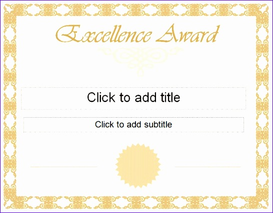 golden excellence award certificate template 546427