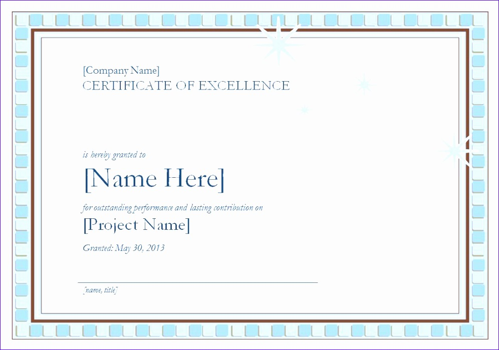 certificate of excellence template 996699