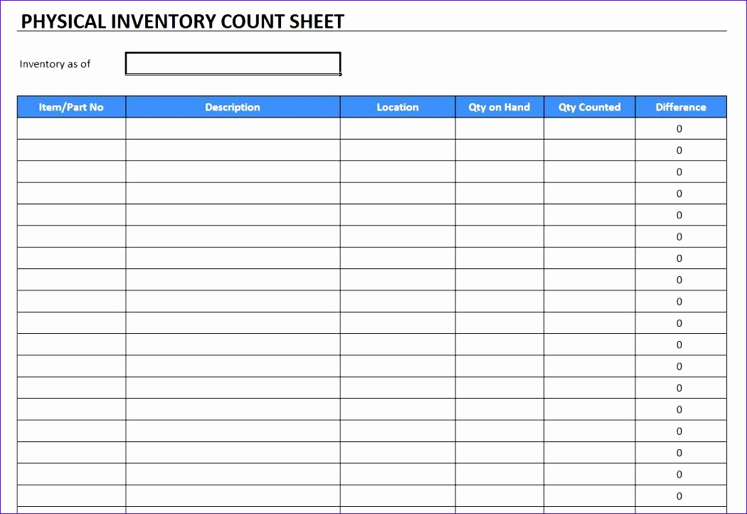 physical inventory count sheet template 1050722