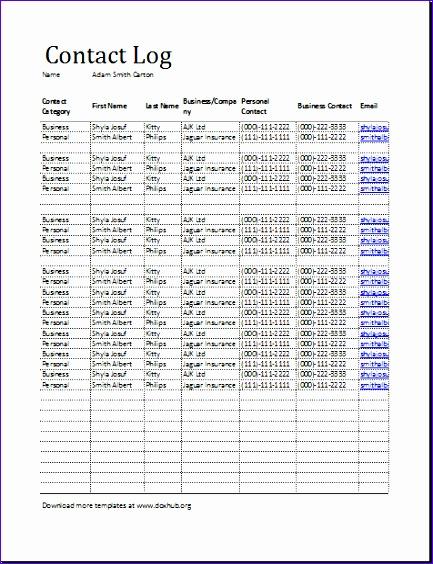 contact log template 433564