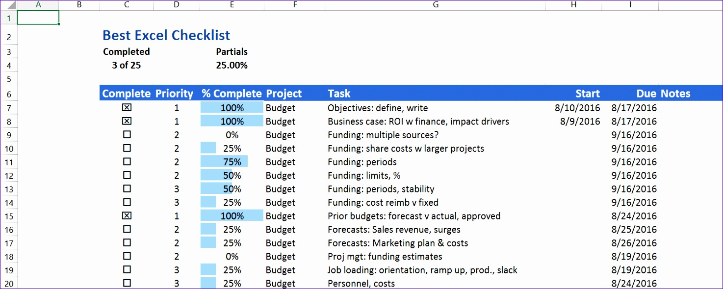 the best excel checklist