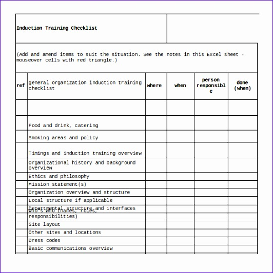 sample training checklist template 532533