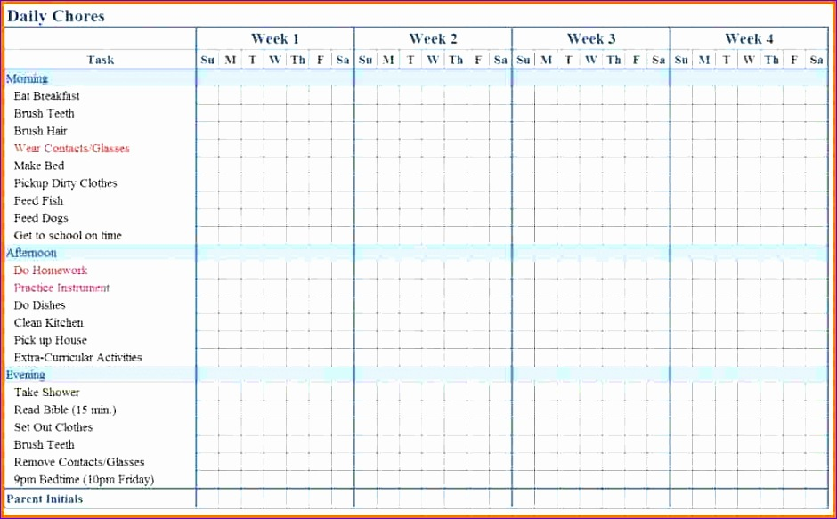 5 chore chart template excel exceltemplates exceltemplates for Chore chart for adults templates