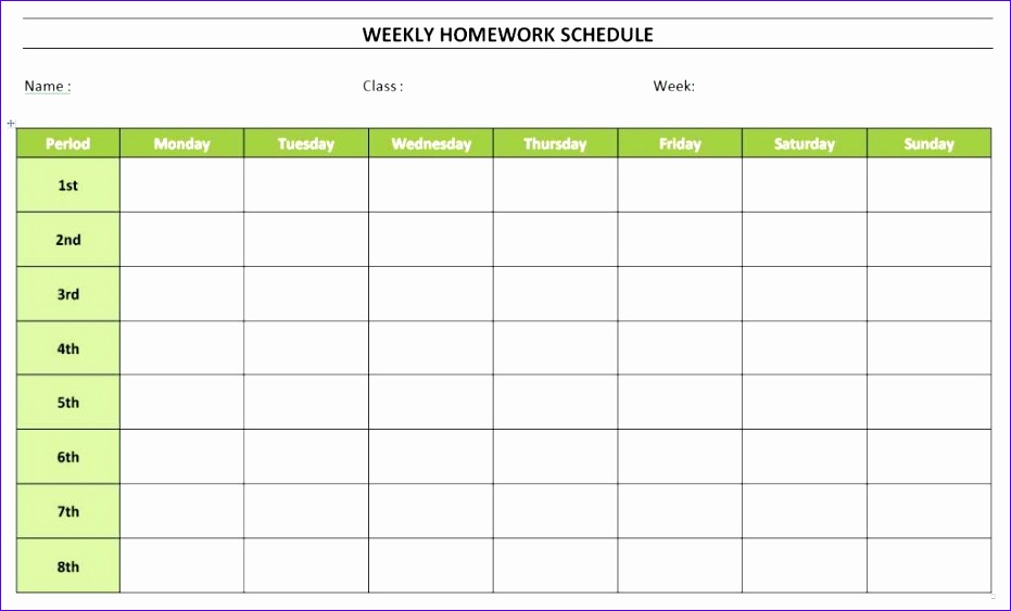 weekly homework schedule 931563