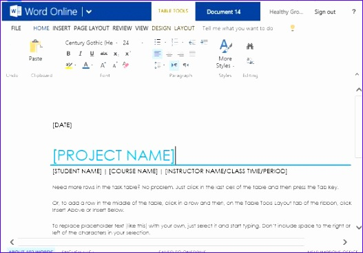 school project task list template for word online 527368