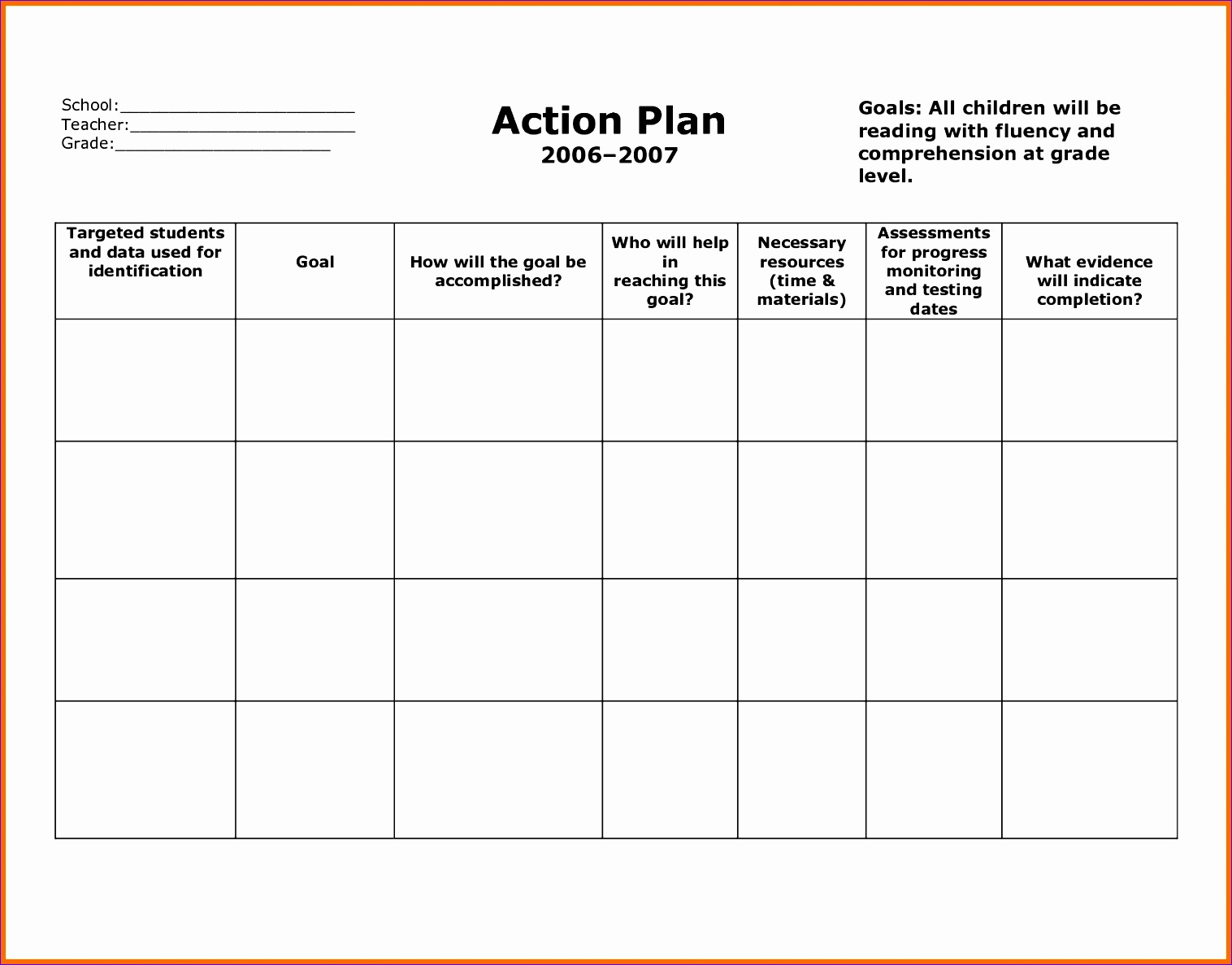 8 action plan templates