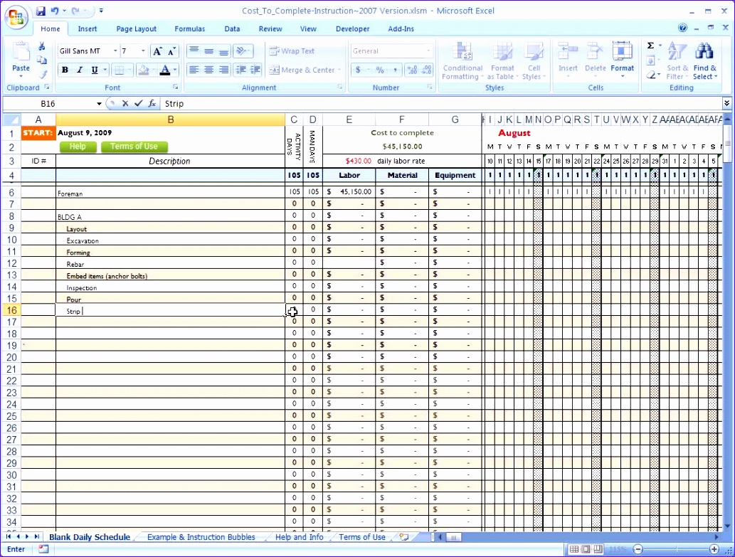 10 construction project schedule template excel free for Free excel construction templates