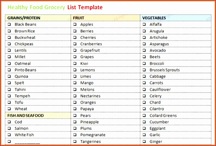 grocery list template word 737500