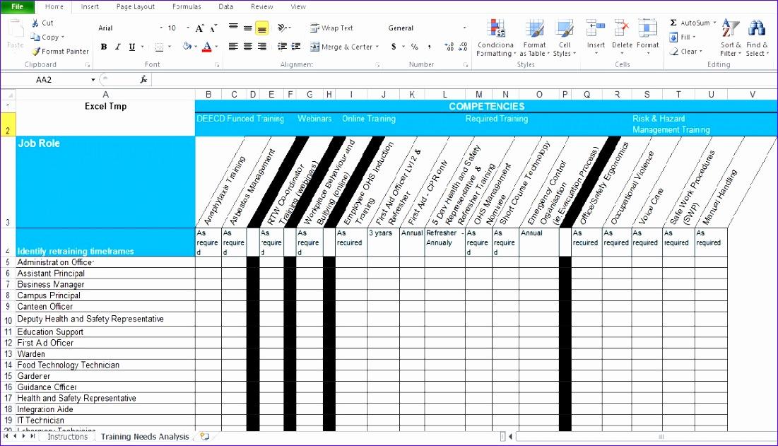 training needs analysis template free 1101631
