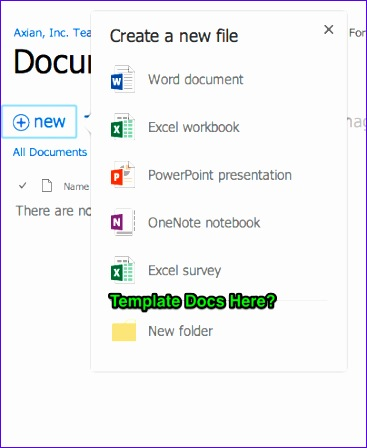 sharepoint online document library create new document from custom templates 367448