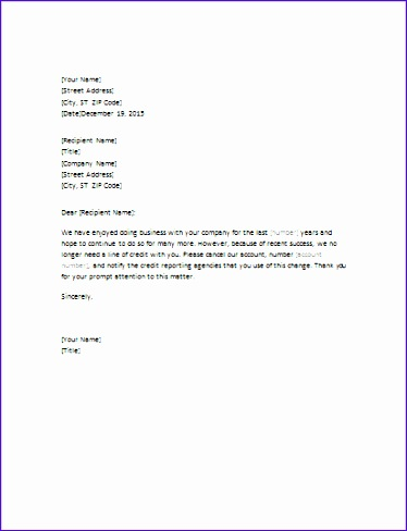 letter requesting closure of credit account 374488
