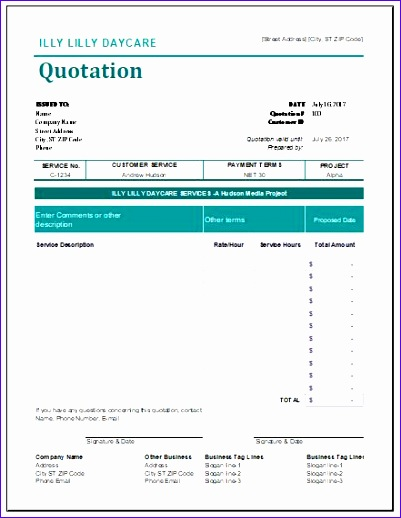 day care quotation templates